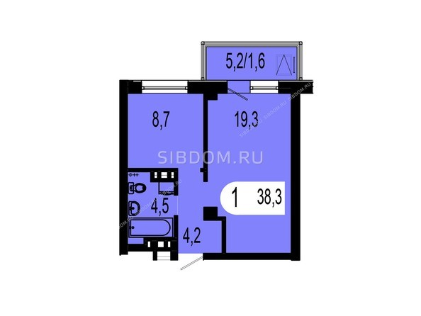 Планировки Жилой комплекс ТИХИЕ ЗОРИ, дом 1 (Красстрой) - Планировка однокомнатной квартиры 38,3 кв.м