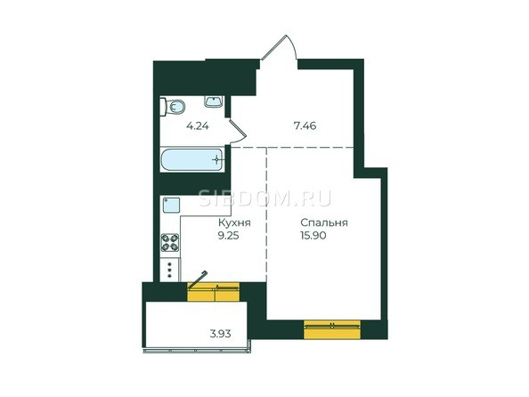 1-комнатная 40,78 кв.м
