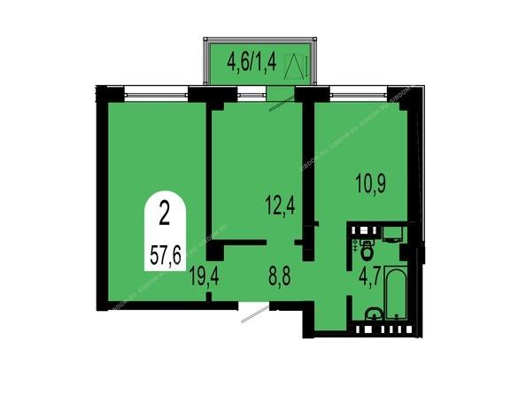 Планировки Жилой комплекс ТИХИЕ ЗОРИ, дом 1 (Красстрой) - Планировка двухкомнатной квартиры 57,6 кв.м
