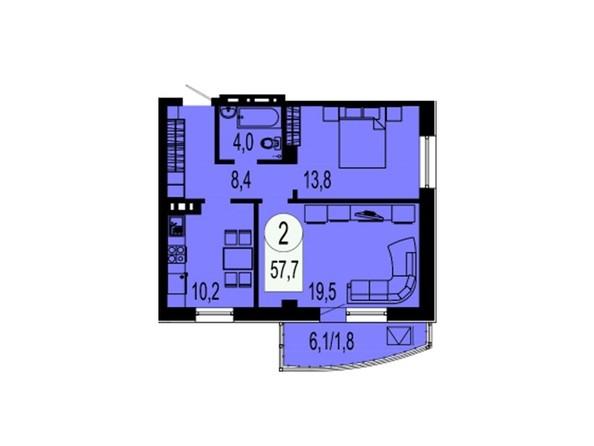 Планировка 2-комнатной квартиры 57,7 кв.м