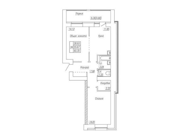 Планировка 2-комн 65,35 м²