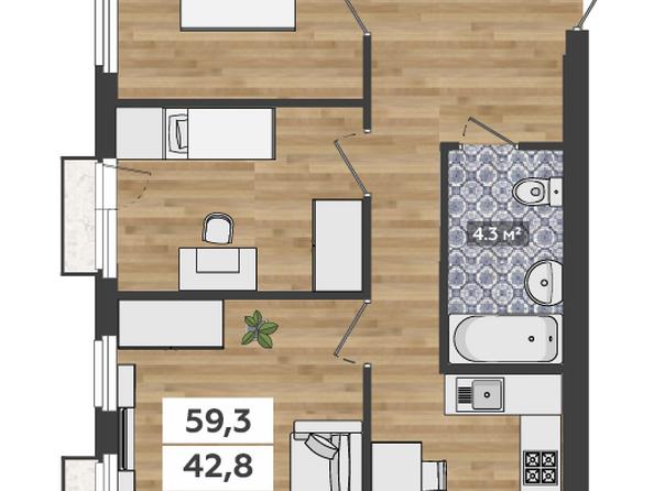 3-комнатная 2-3 этаж