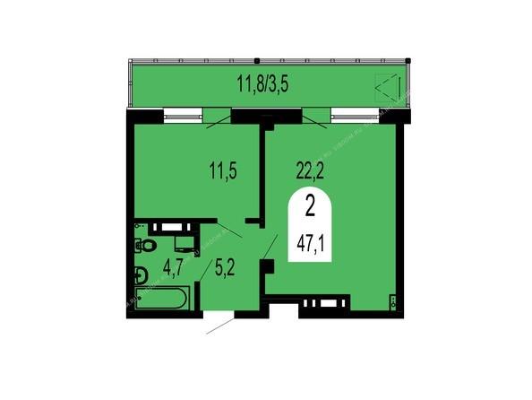 Планировки Жилой комплекс ТИХИЕ ЗОРИ, дом 1 (Красстрой) - Планировка двухкомнатной квартиры 47,1 кв.м
