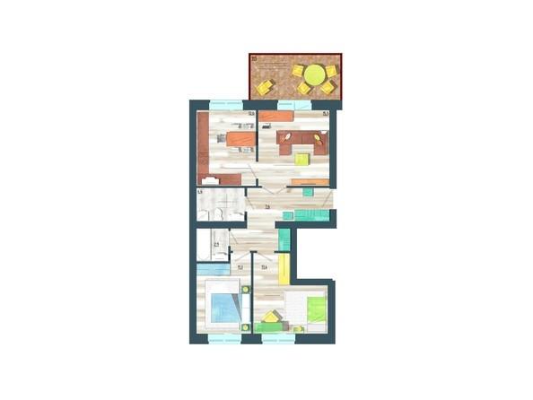 Планировки Жилой комплекс ЖИВЁМ эко-район, 10 квартал, дом 1 - Планировка трехкомнатной квартиры 74,5 кв.м