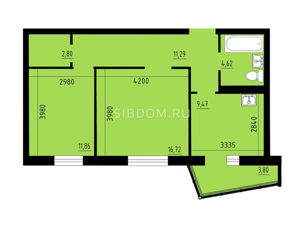 Планировка двухкомнатной квартиры 57,9 кв.м