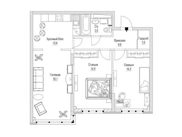 Планировка 3-комн 71,5, 71,9 м²