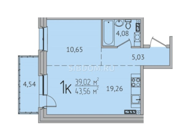 1-комнатная 43,56 кв.м