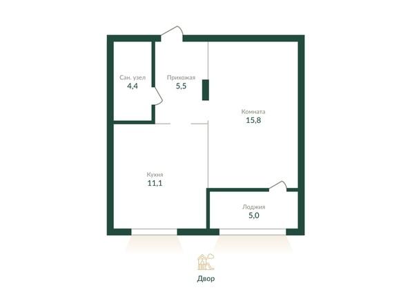 Планировка 1-комн 41,9 - 42,2 м²