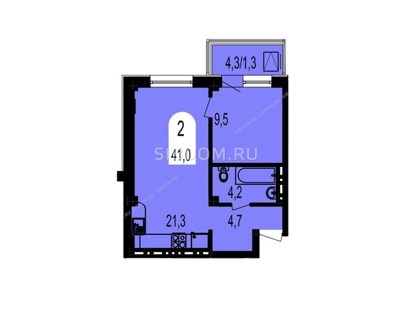 Планировки Жилой комплекс ТИХИЕ ЗОРИ, дом 1 (Красстрой) - Планировка двухкомнатной квартиры 41 кв.м