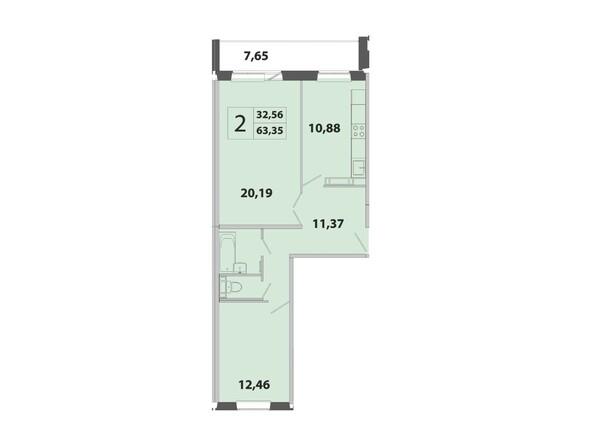 Планировка 2-комн 63,35 м²