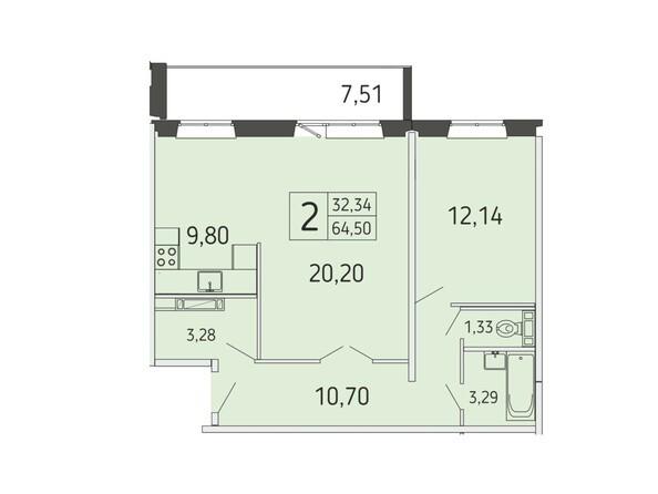 2-комнатная 64,50 кв.м