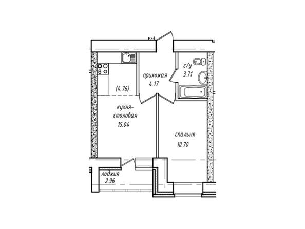 Планировки Жилой комплекс НЕВСКИЙ 2 КВР, 7 дом - Планировка однокомнатной квартиры 35,10 кв.м