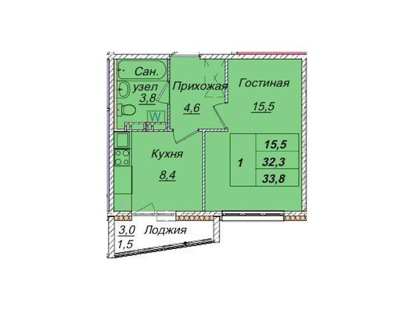 Планировки Жилой комплекс КЕМЕРОВО-СИТИ, дом 7б  - Планировка однокомнатной квартиры 33,8 кв.м