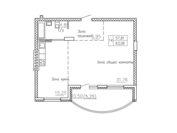 Планировки Жилой комплекс СОБРАНИЕ - Планировка однокомнатной квартиры 63,06 кв.м