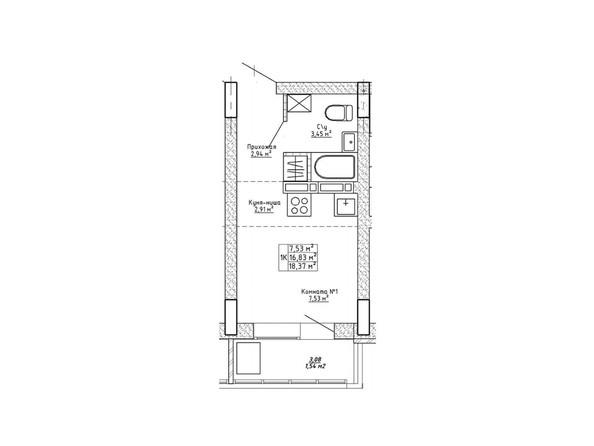 Планировки Ленина, 123 - Планировка однокомнатной квартиры 18,37 кв.м