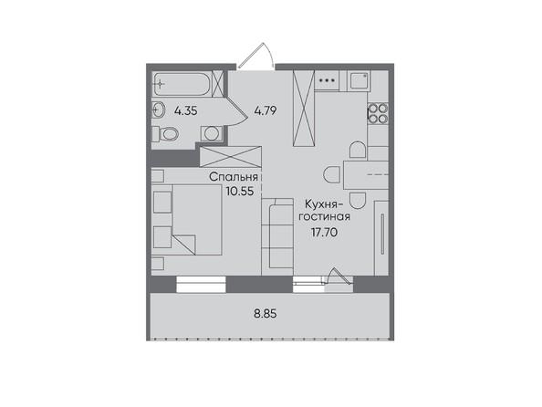 2-комнатная 46,24 кв.м