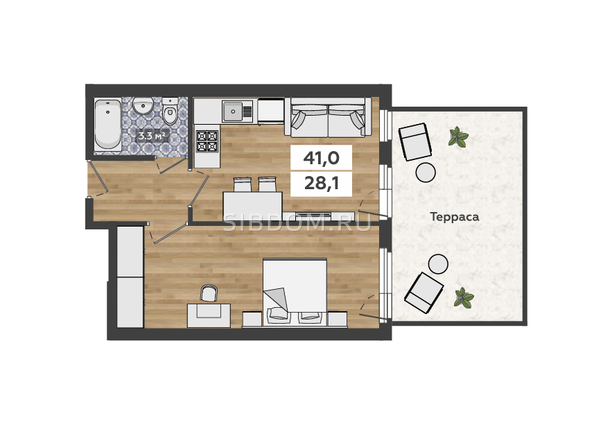 1-комнатная на 1 этаже с террасой