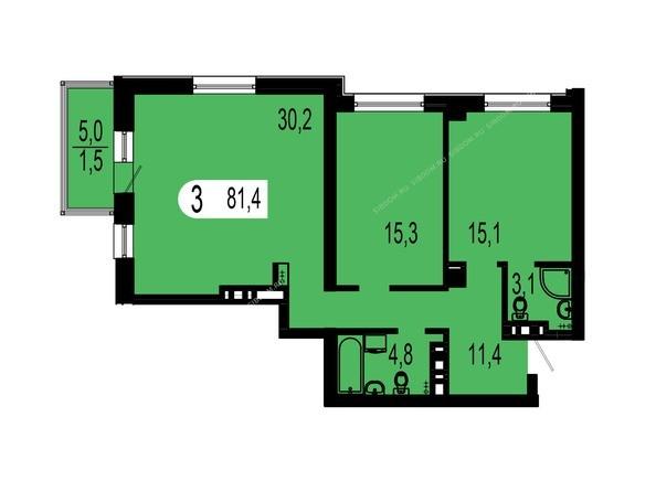 Планировки Жилой комплекс ТИХИЕ ЗОРИ, дом 1 (Красстрой) - Планировка трехкомнатной квартиры 81,4 кв.м