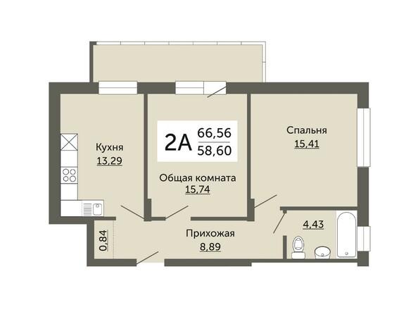 Планировки Жилой комплекс ДОМ НА НЕМИРОВИЧА, б/с 1 - Планировка двухкомнатной квартиры 58,6 кв.м