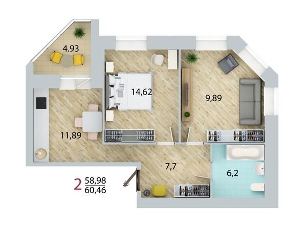 Планировка 2-комн 60,46 м²