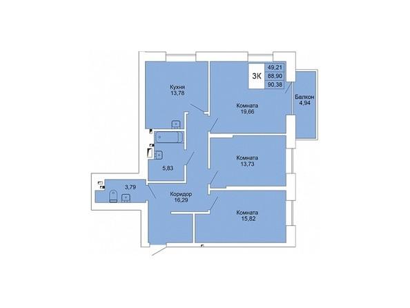Планировки Жилой комплекс РАСЦВЕТАЙ НА МАРКСА, дом 1 - 3-комнатная 90,38 кв.м
