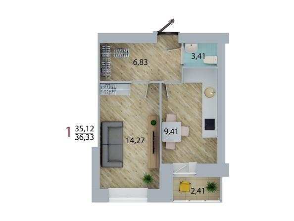 Планировка 1-комн 36,33 м²