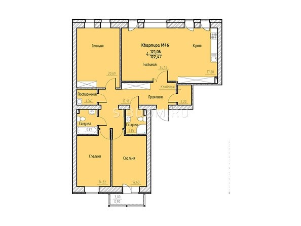 Планировка 4-комн 121,96, 122,47 м²