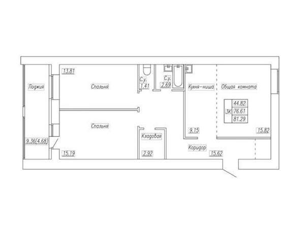 Планировка 3-комн 81,29 м²