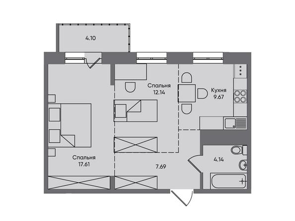 2-комнатная 55,35 кв.м