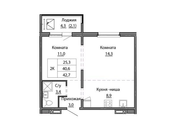 Планировки МОТОР, корпус 1 - Планировка двухкомнатной квартиры 42,7 кв.м