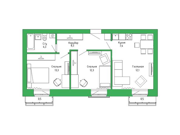 Планировка 3-комн 57,94 м²