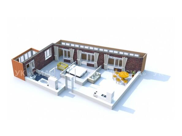 Планировки ГЛОБУС, дом 8 - 3d-макет трехкомнатной квартиры 88 кв.м