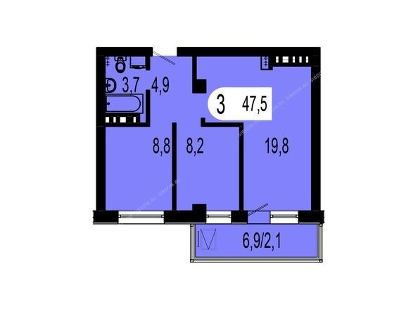 Планировки Жилой комплекс ТИХИЕ ЗОРИ, дом 1 (Красстрой) - Планировка трехкомнатной квартиры 47,5 кв.м