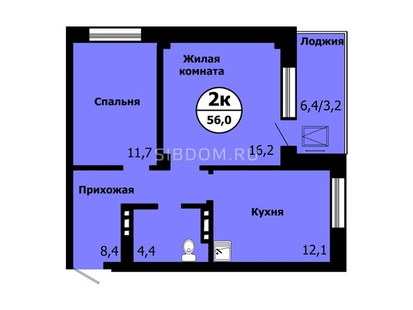 Планировка 2-комн 55,9 - 56 м²