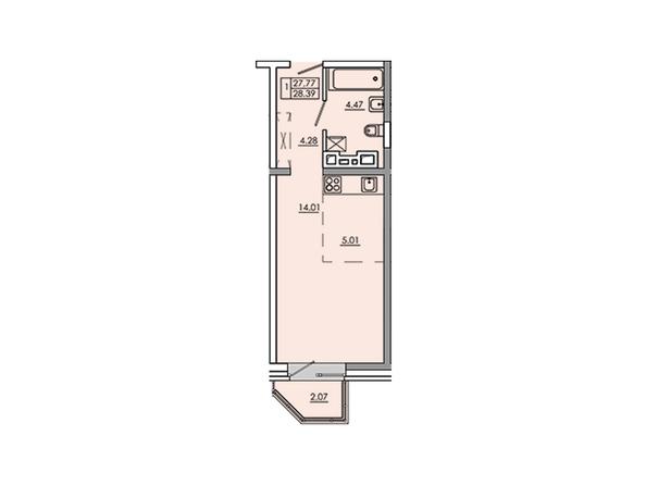 Планировки Жилой комплекс Новое Ново-Ленино, б/с 30-32 - Планировка однокомнатной квартиры 29,84 кв.м