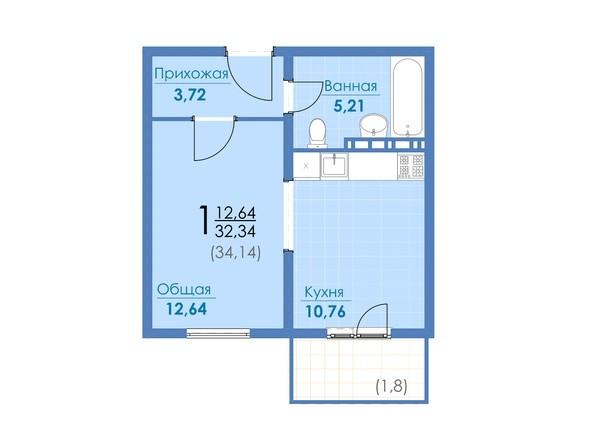Планировки Жилой комплекс ДОМ НА ВОЛОШИНОЙ - 1-комнатная 32,34 и 34,14 кв.м