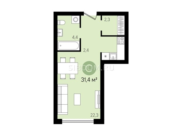 Планировка Студия 31, 31,4 м²