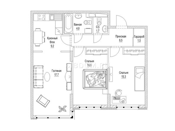 3-комнатная 73.4 кв.м
