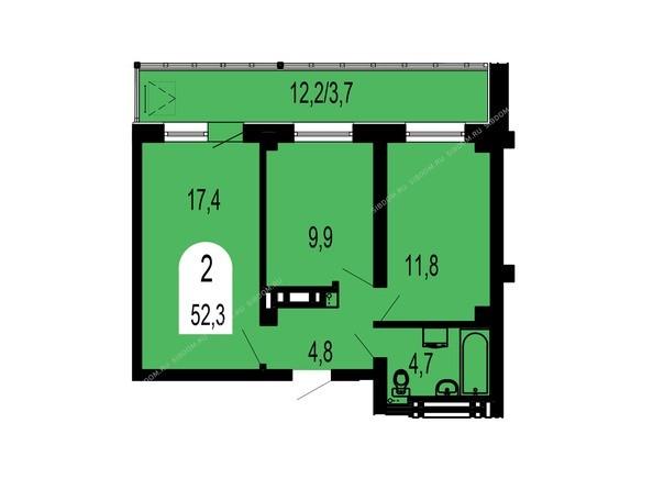 Планировки Жилой комплекс ТИХИЕ ЗОРИ, дом 1 (Красстрой) - Планировка двухкомнатной квартиры 52,3 кв.м