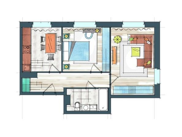 Планировки Жилой комплекс ПРЕОБРАЖЕНСКИЙ, дом 22, этап 2 - Планировка двухкомнатной квартиры 59 кв.м