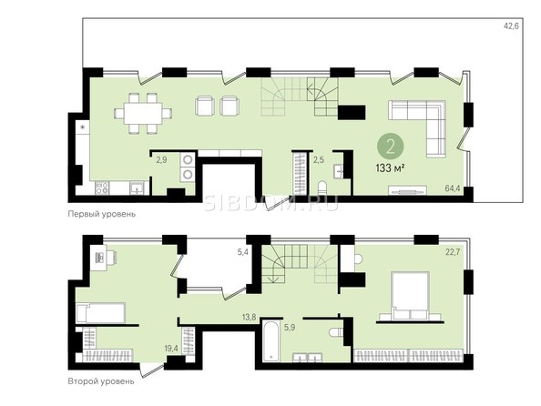 Планировка 2-комн 178,2 м²