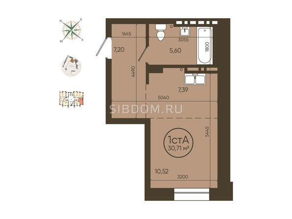 1-комнатная 30,71 кв.м