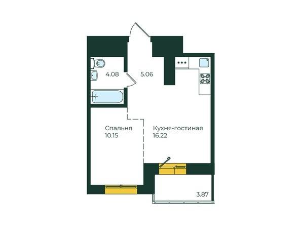 1-комнатная 39,38 кв.м
