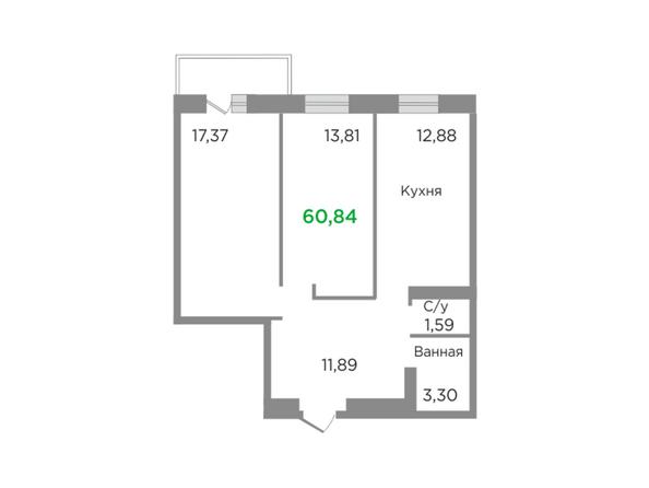 Планировки Жилой комплекс ЯСНЫЙ БЕРЕГ, дом 11 - Планировка двухкомнатной квартиры 60,84 кв.м