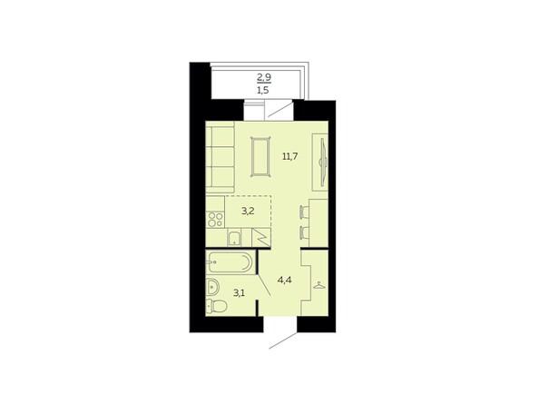 Планировки Жилой комплекс МАРС, дом 10 - Планировка однокомнатной квартиры 23,9 кв.м