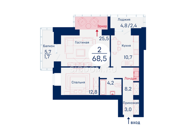 Планировки Микрорайон SCANDIS (Скандис), дом 2 - Планировка двухкомнатной квартиры 68,5 кв.м