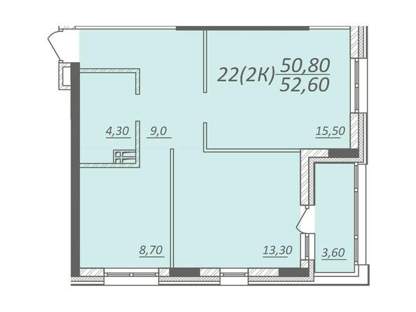 Планировка 2-комнатной квартиры 52,6 кв.м