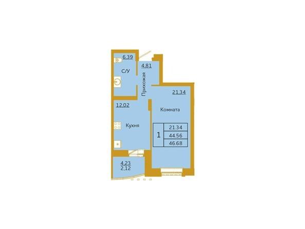 1-комнатная 46,68 кв.м