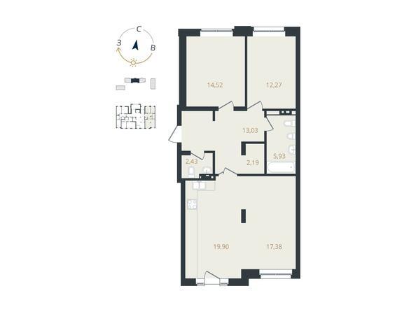 3-комнатная 87,65 кв.м