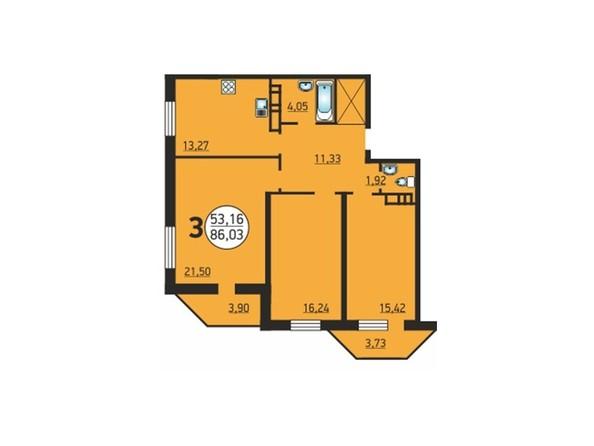 3-комнатная 86,03 кв.м